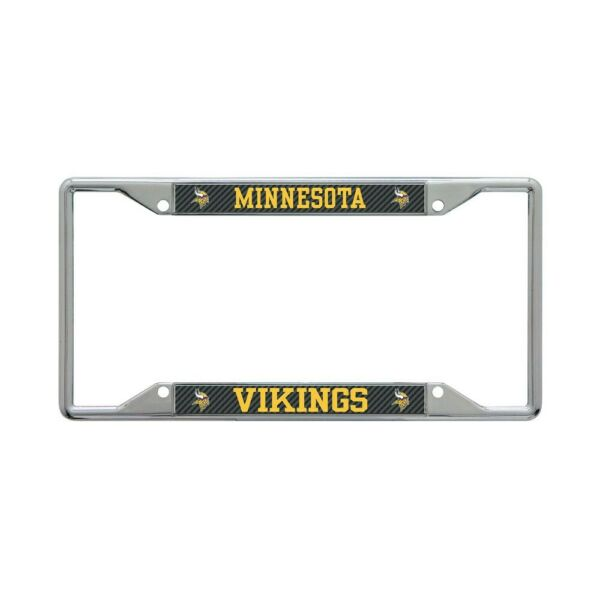 MINNESOTA VIKINGS CARBON BACKGROUND 6quot;X12quot; METAL LICENSE PLATE FRAME WINCRAFT $20.00