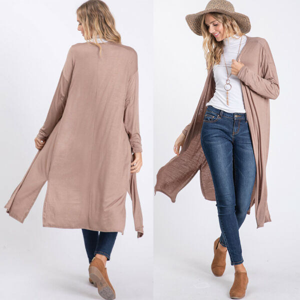 New Women Plus Solid duster open front and long Tailed Cardigans S-M-L-XL