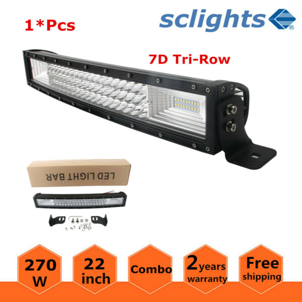 Curved 7D Tri-row 270W Led Light Bar Truck Driving Fog Tractor Offroad 22in 120W