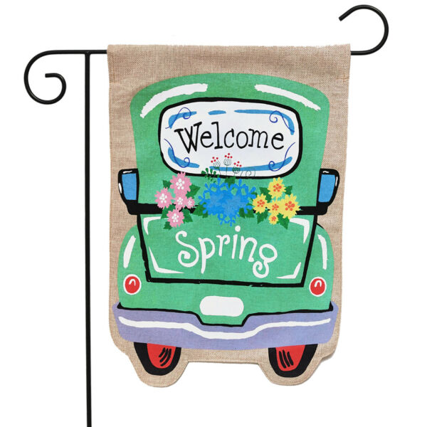 Welcome Spring Truck Burlap Garden Flag 12.5quot; x 18quot; Briarwood Lane