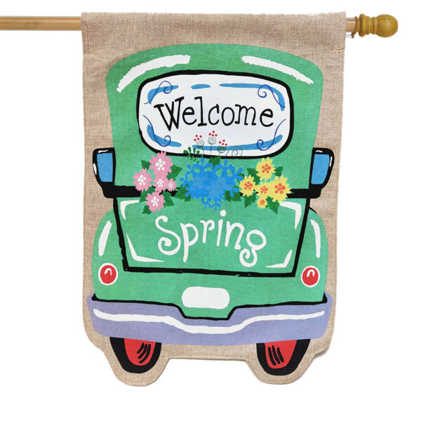 Welcome Spring Truck Burlap House Flag Floral 28