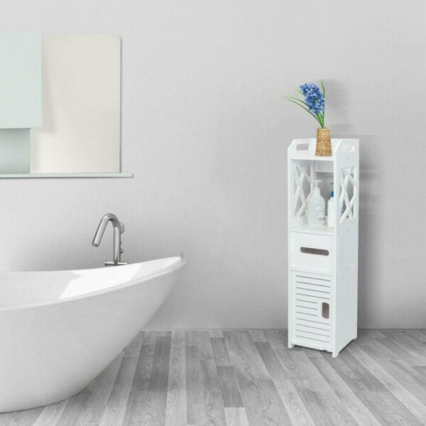 New Bathroom Floor Cabinet Storage Toilet Bath Organizer Drawer Shelf White Wood