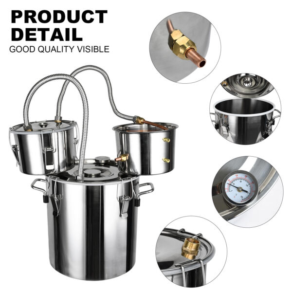Alcohol Distiller Stainless Steel Distilling BrandyFruit wineWaterExtracts US