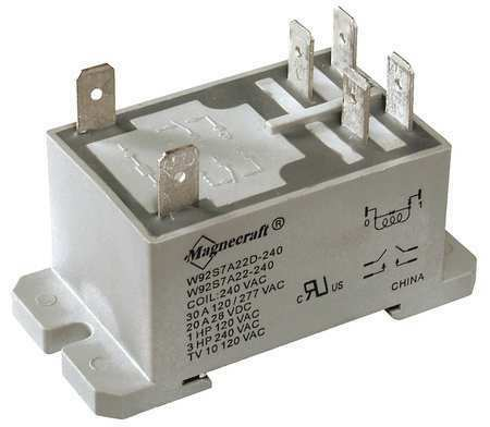 SCHNEIDER ELECTRIC 92S7A22D-120A Enclosed Power Relay6Pin120VACDPST-NO