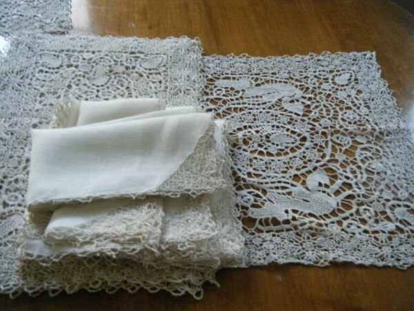 Vtg table dressing set 16pc Figurative Reticella Dragons needle Lace Hand done