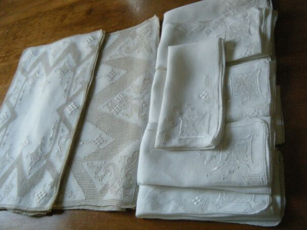 Vtg table dressing set 17pc H Reticella emery &needle lace mosaic style lace