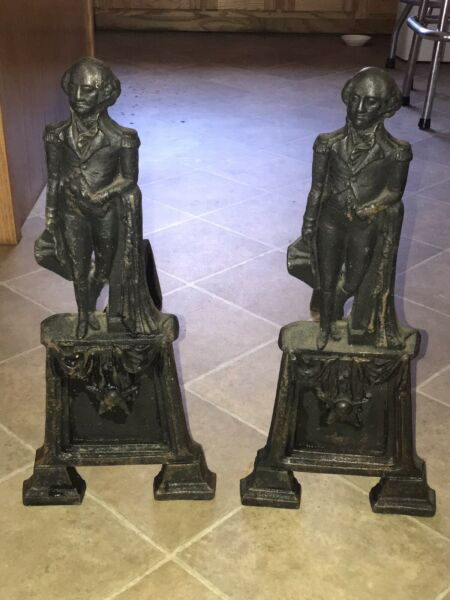 Pair of Antique George Washington Cast Iron Andirons