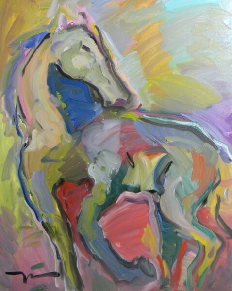 JOSE TRUJILLO OIL PAINTING FAUVISM EXPRESSIONISM HORSE ABSTRACT LARGE 24X30