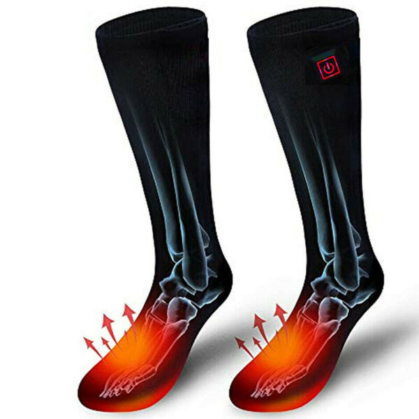 Rechargable Battery Electric Heated Socks Boot Feet Warmer Winter Outdoor US