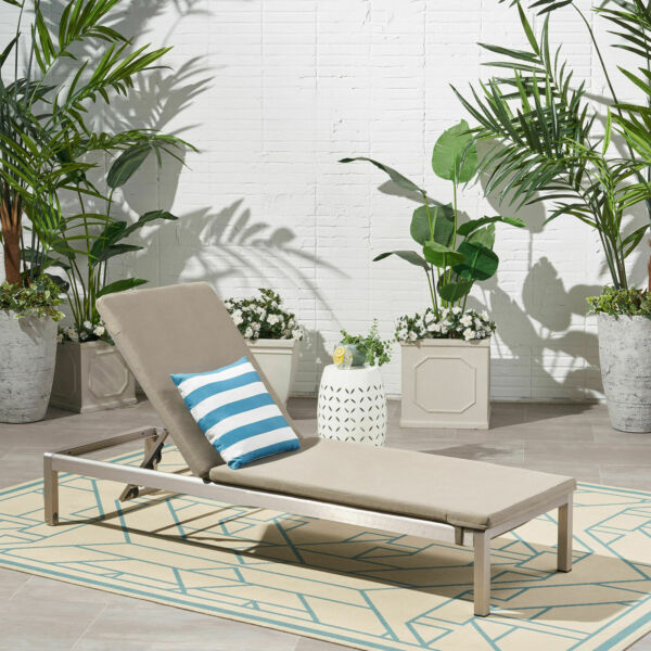 Cherie Outdoor Chaise Lounge with Cushion Khaki and Gray $371.73