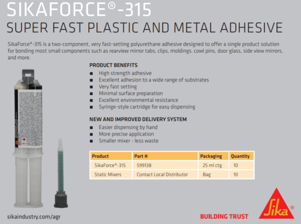 SIKAFORCE 315 - PLASTIC AND METAL ADHESIVE