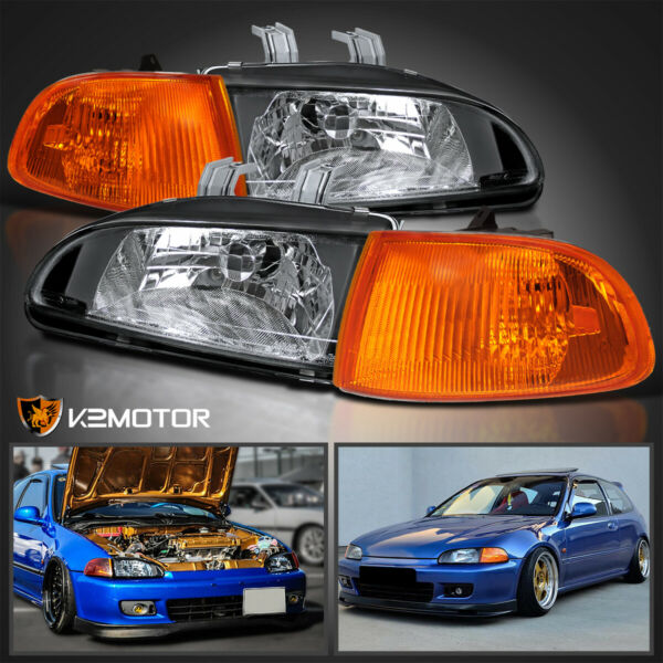 For 92 95 Honda Civic 2Dr 3Dr EG EH EJ Black HeadlightsCorner Lights 4PC 93 94