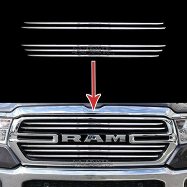 2019 2020 Dodge RAM 1500 CHROME Snap On Grill Overlay Grille 5 Bar Trim Covers