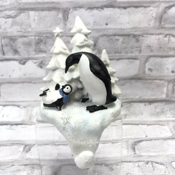 Christmas Mantel Stocking Holder Playing Penguins Trees Snow Winter Holiday