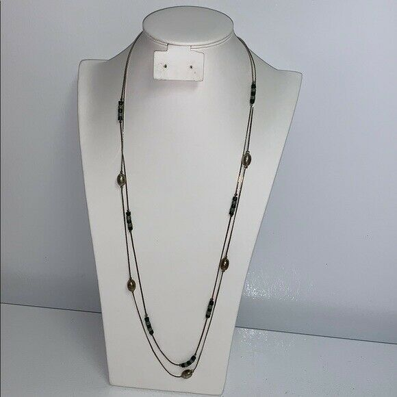 Double Stand Necklace Silver in Color with Beads $8.99