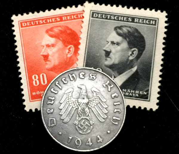 Rare German 10 Reichspfennig Coin and Unused Stamps Historical WW2 Authentic