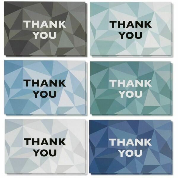 48 Pcs Thank You Cards Bulk Set Stained Glass Pattern Designs with Envelopes