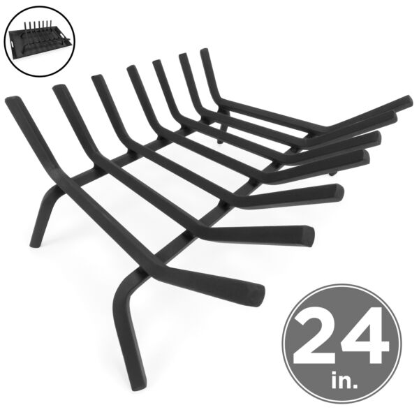 BCP 2-in-1 Steel Fireplace Grate Log Burning Rack w Ash Tray
