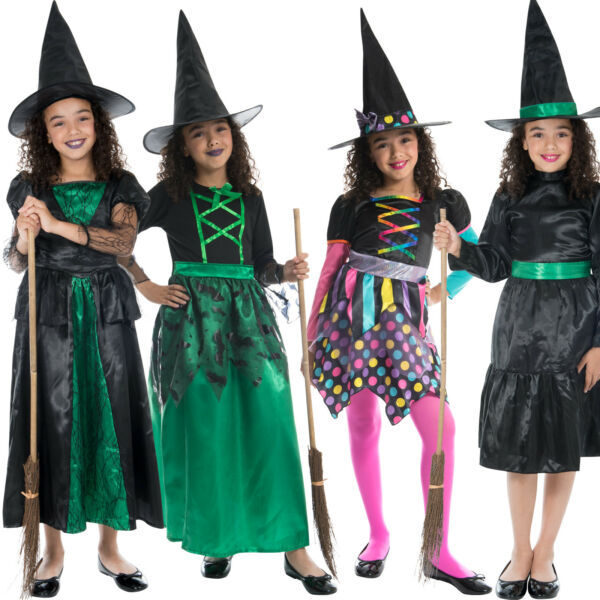 Girls Witch Costume Scary Spooky Halloween Witches Fancy Dress Outfit amp; Hat $8.99