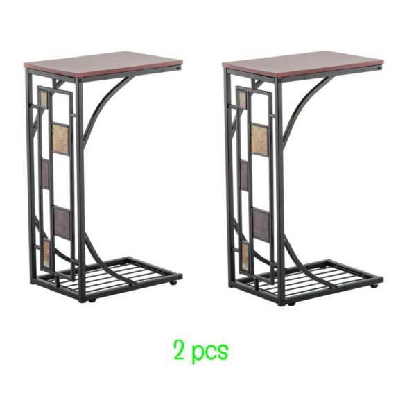 Hot 2 PCS Coffee Tray Side Sofa Table Couch Room Console Stand End TV Lap Snack