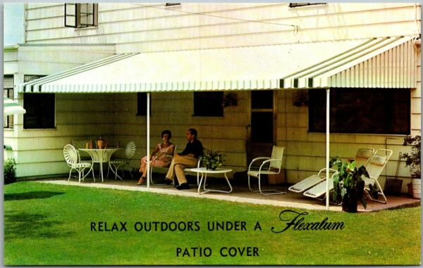 Chrome Advertising Postcard FLEXALUM Aluminum Awnings Backyard Scene c1960s