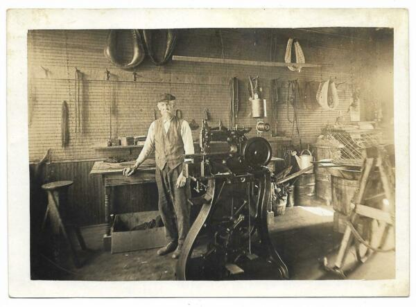 Vintage Early Photo Older Man Shop Sewing Machine Leather Horse Harness Reins