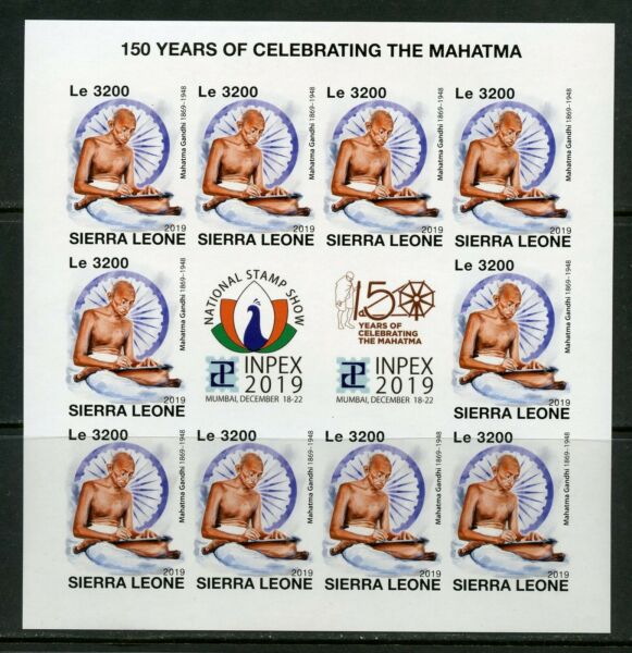 SIERRA LEONE 2019 150 YEARS CELEBRATION  MAHATMA GANDHI IMPERF  SHEET MINT NH $39.95