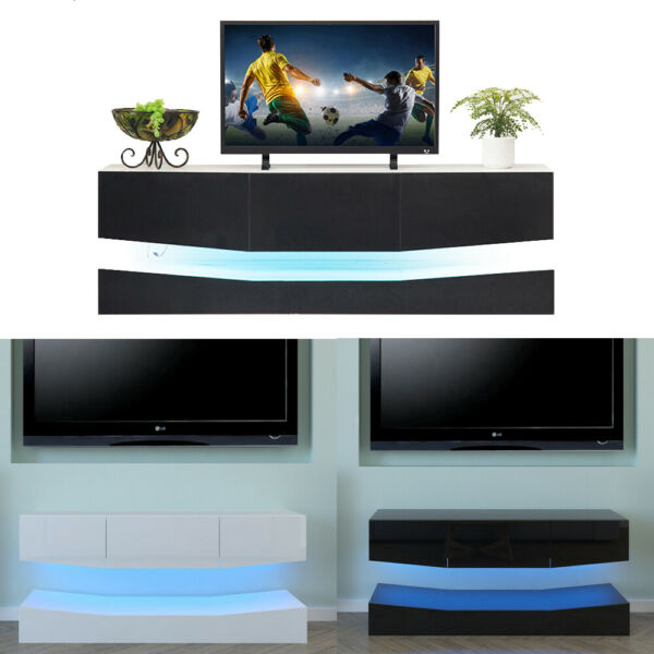 RGB LED Light High Gloss Floating TV Cabinet Stand Entertainment Center Storage