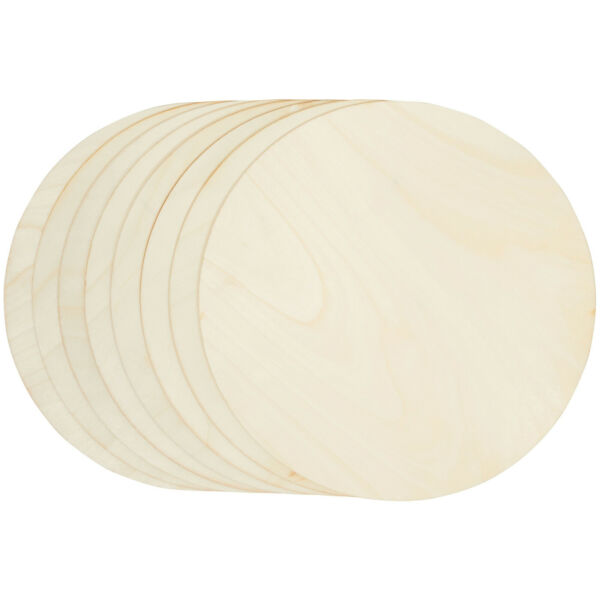 8 Pack Unfinished Wood Circle Round Wooden Cutout for DIY Craft Supplies