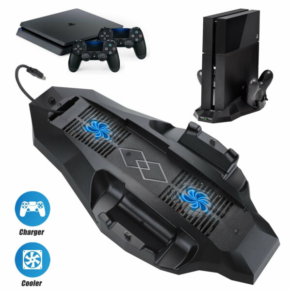 Cooling Fan for PlayStation 4 PS4 with Dual Charging Station 2 Extra USB Ports