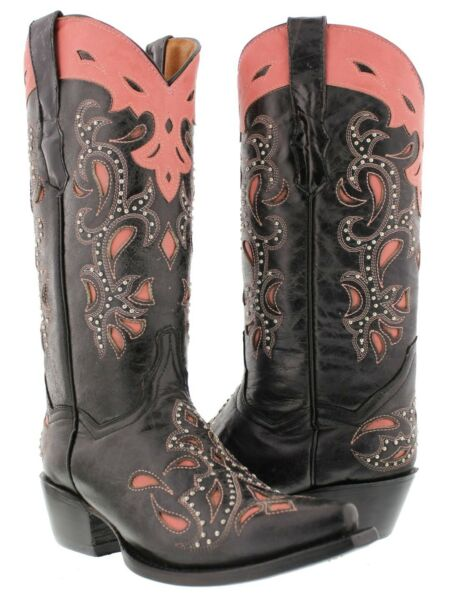 Womens Black Leather Cowboy Boots Pink Overlay Paisley Studded Western Snip Toe