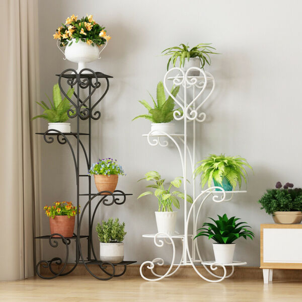 5 Tier Outdoor Metal Plant Stand Flower Planter Garden Display Holder Rack Shelf