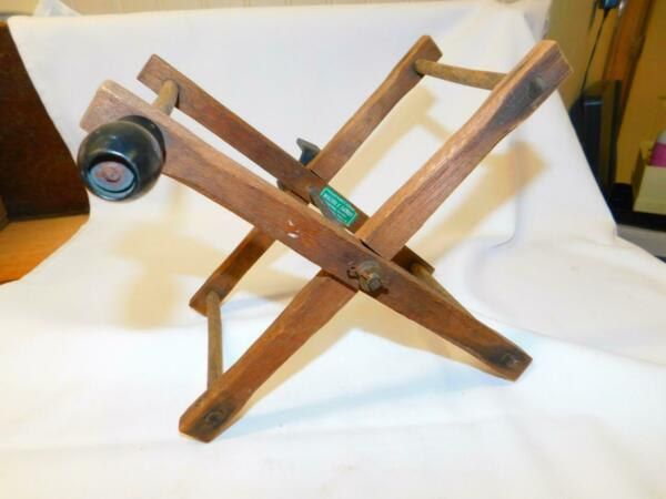 Antique VIntage ROPE WINDER Wooden w Clamp Walter F Hailey Sporting Goods Phila