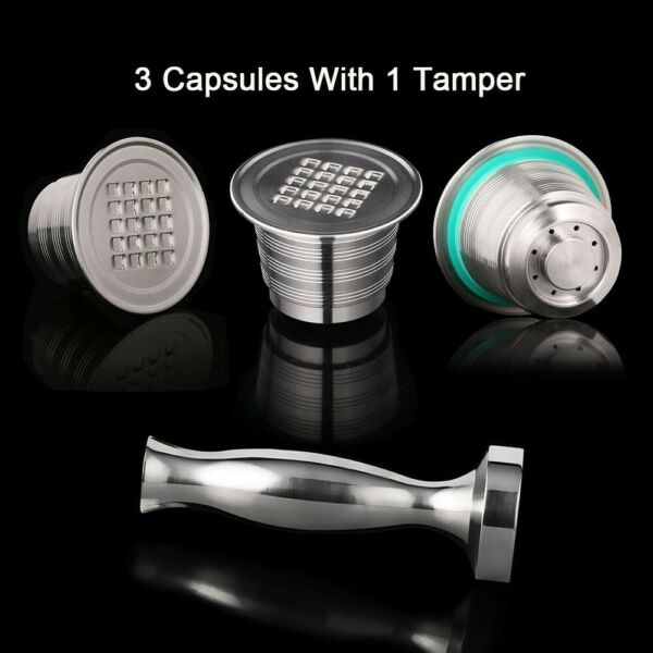 Stainless Steel Nespresso Refillable Coffee Capsule Coffee Set Tamper Reusable