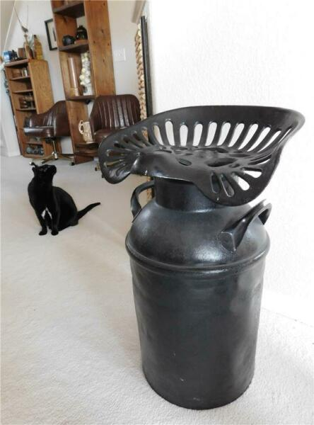 Antique Cast Iron Tractor Seat on Milk Can 27quot; Tall Unique for Dining Room Table $855.00