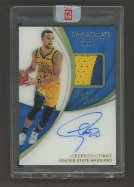 2018-19 Immaculate Premium Edition Stephen Curry GU Logo Patch AUTO 0114