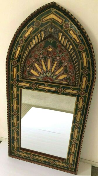 VINTAGE MORROCAN STYLE CARVED WOOD FRAME WITH MIRROR CATHDRAL SHAPE 42