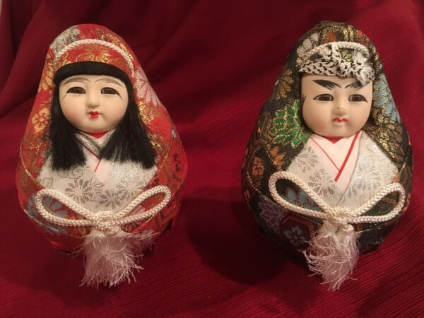 Vintage Couple Japanese Dolls Traditional Round Hime Daruma Lucky Fortune Dolls