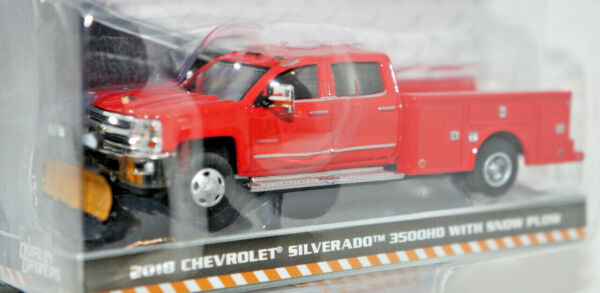 greenlight 2018 chevy silverado 3500hd dually snow plow truck red 164 diecast