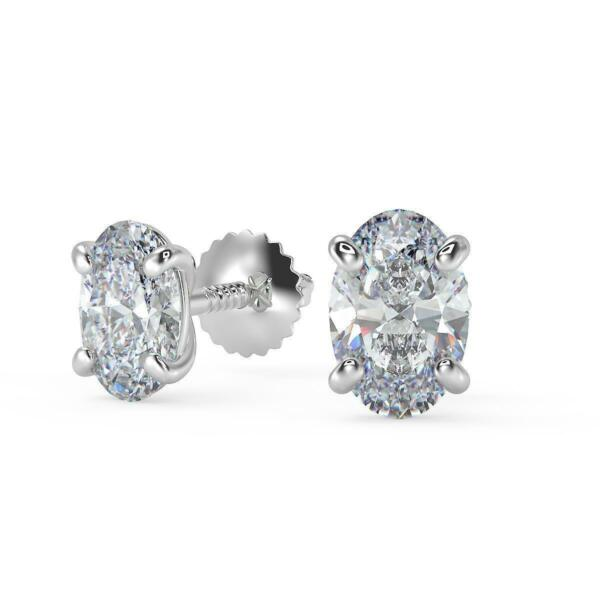 3.74 Ct Oval Cut Stud Diamond Earrings SI1 D Screw Back White Gold 14k