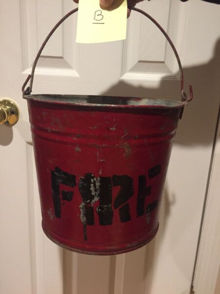 Vintage Red Fire BUCKET Fireplace Firefighter SandWater Pail Domed Round Bottom