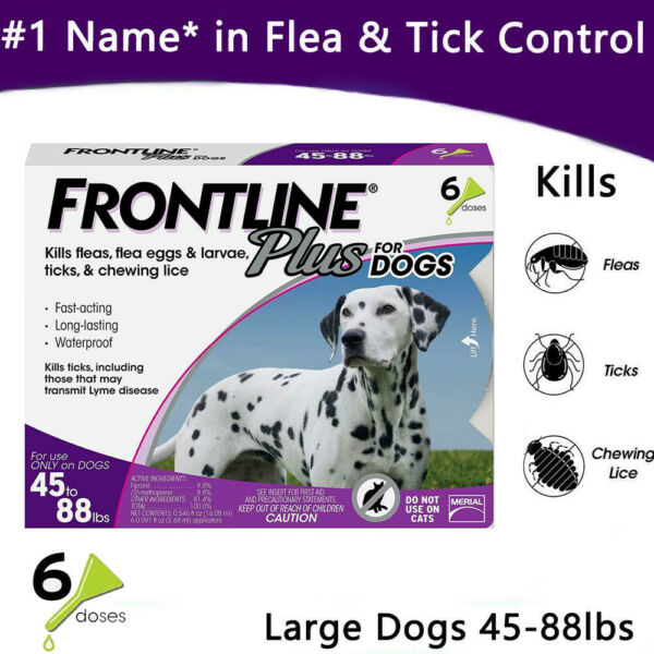 Frontline Plus for Large Dogs (45-88lbs) Flea &Tick Treatment Control 6 Doses