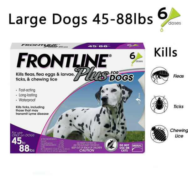 6 doses Frontline Plus Flea & Tick Treatment Control for Large Dog(45-88 lbs)
