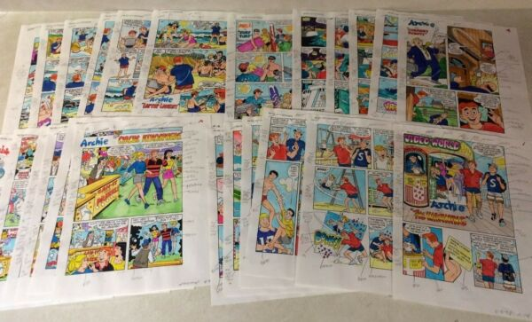 Archie #475 original art color guides 24 PAGE SET CIRCUS FISHING BEACH JUGHEAD
