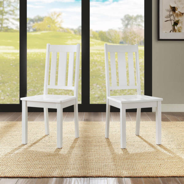 Dining Chairs Set Of 2 Solid Wood Kitchen Breakfast Dinette Furniture White New