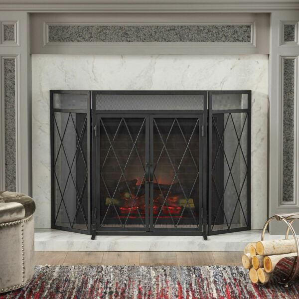 Kyomi Modern Iron Folding Fireplace Screen with Door