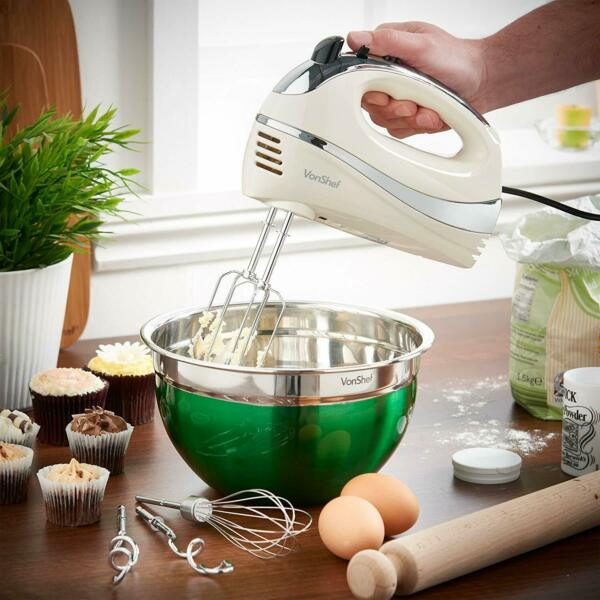 VonShef Cream 250W Hand Mixer Whisk With Chrome Beater Dough Hook 5 Speed and