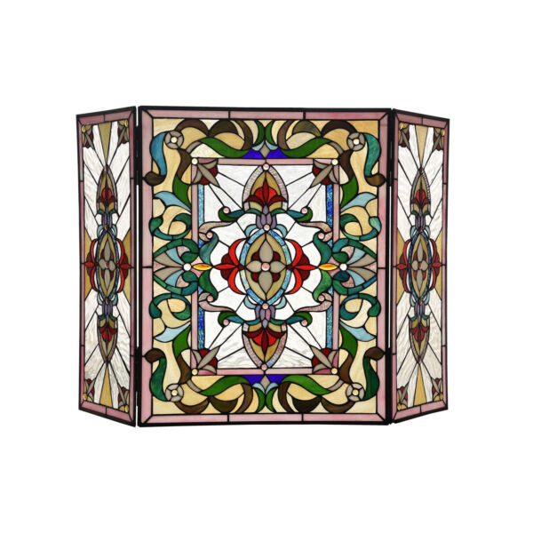 Fireplace Screen Tiffany Style Stained Glass 3 Panel 28in H x 44in W