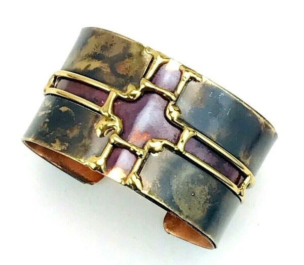 Vintage Flame Painted Copper Brass Wide Cuff Bracelet