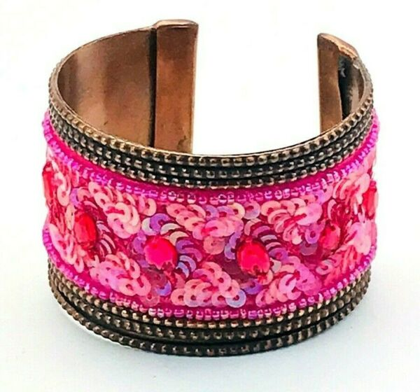 Vintage Fuchsia Pink Jeweled Sequined Beaded Wide Copper BOHO Cuff Bracelet